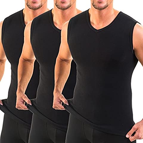 HERMKO 3050 - 3 men's business tank tops with V-neckline, vest made of 100% cotton (muscle shirt), Black, 8 (XXL)
