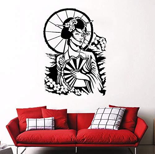 Dalxsh Aufkleber Für Wanddekor Geisha Frau Vinyl Wandaufkleber Sakura Kirschblüte StilWandkunst Wandhauptdekor 42X58 Cm