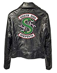 Riverdale Southside Serpents Jacke Damen, Teenager Mädchen Mode Lederjacke Coole Leder Pullover Frauen Slim Fit Sweatshirt Bauchfreier Pulli Kurz Crop Tops Oberteile Langarmshirts (A-Schwarz,M)