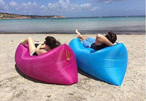 Tragbar Sofa Chill Lazy Sofa Schnell aufblasbar Air Schlafsack Camping Bett Beach by Platinium, rosarot