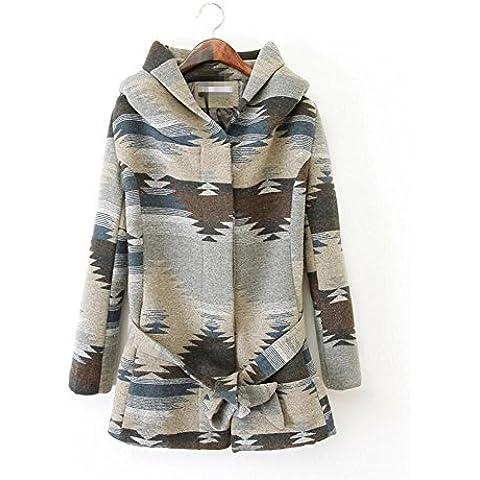 ZZHH Cappotto Bavero donna giacca in pile cappotto lana Trench Coat di allacciatura . s