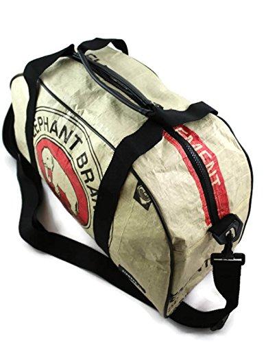 Reisetasche Handgepäck 46 x 20 x 26 cm Recycling Tasche Weekender aus Gewebeplane Thailand Zementsack Siambag Upcycling (Orange Camel) Red Elephant