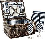 INNO STAGE Picknickkorb für, Weiden-Aufbewahrungskorb für Service Geschenk-Set für Camping und Outdoor Party, Weide for 2 MEHRWEG