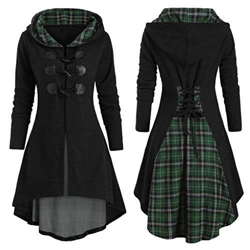 SUMTTER Mittelalter Strickjacke Damen mit Kapuze Karneval Kostüm Gothic Kleidung Oberteil Große Größen Umhang Sale