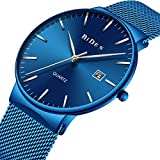Watches,Men's Fashion Slim Minimalist Waterproof Watch Stainless Steel Analogue Quartz Watches Date with Blue Mesh Band