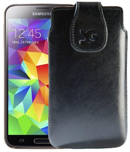 Original Suncase Tasche für / Samsung Galaxy S5 mini (SM-G800F) / Leder Etui Handytasche Ledertasche Schutzhülle Case Hülle / in schwarz