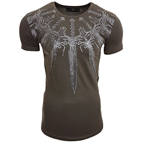 HERREN T-Shirts Druck Größe S M L M XL XXL kurzarm Text RN15111 Khaki