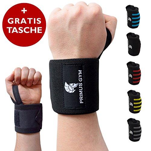 Primus Gym Fitness Handgelenk Bandagen [2er Set] Wrist Wraps - Profi Handgelenkbandage für Kraftsport, Bodybuilding, Powerlifting, Crossfit & Fitness - Für Frauen & Männer (Schwarz)