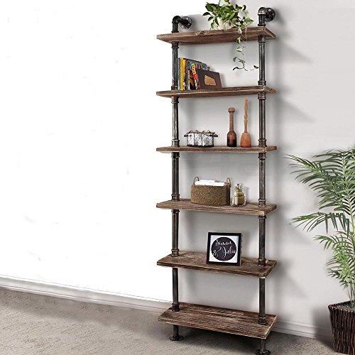 iKayaa Bücherregal Haushaltsregal Wandregal Standregal aus Kieferholz und Stahl mit 6 Schicht -