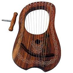 Lyra Harfe 10Metall-saiten Palisanderlyra Harfe Rosewood 10Saiten Free Fall