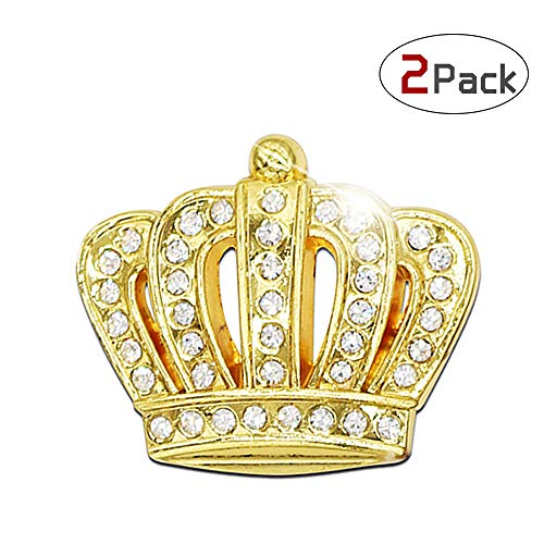 Bling Auto Dekoration Aufkleber 3D Metall Aufkleber Kristall + Krone Auto-Emblem Außen- und Innenausstattung × 2 Pack (Gold, Krone S)