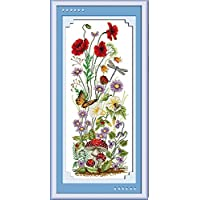 CaptainCrafts Hot New Releases Cross Stitch Kits Patterns Embroidery Kit - Welcome The Spring, Butterfly Flowers Dragonfly (WHITE)