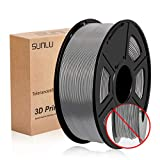 SUNLU 3D Printer Filament PLA Plus, 1.75mm PLA Filament, 3D Printing Filament Low Odor, Dimensional Accuracy +/- 0.02 mm, 2.2 LBS (1KG) Spool 3D Filament, Grey PLA+
