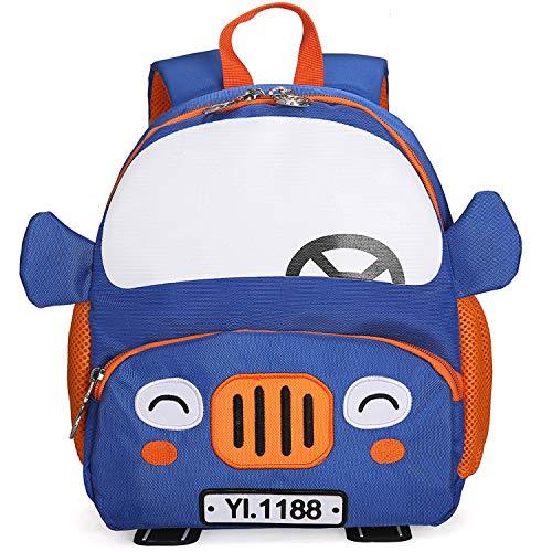 RTMN Kinderrucksack 3D Cartoon Auto Rucksäcke 2-5 Jahre Kinder Mode Niedlichen Kindergarten Kinder Schule Taschen Jungen Schul Blau (Auto-rucksack)