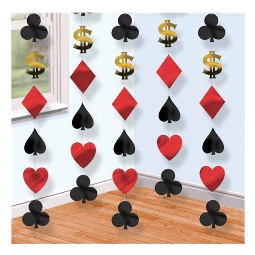 Unbekannt Dekoration mit Casinokarten-Motiven, zum Aufhängen, 6 Stück
