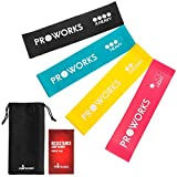 Proworks Resistance Bands | Set of 4 Heavy Duty Fitness Exercise Bands - Includes Workout Booklet - Home and Gym Loop Resistance Bands for Legs and Glutes, Arms, Physio, Pilates, Yoga, and Strength