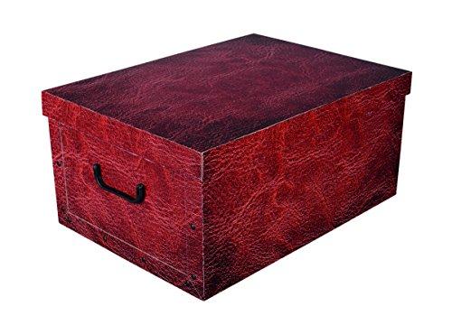 XXL Dekokarton RED LEATHER in schöner Leder Optik in dunklem Rot Braun - Tolles Motiv, passt in jeden Haushalt! Edel und hochwertig! Mit Griffen zum Tragen und XXL Volumen!