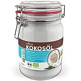 BIO Kokosöl - 1 x 1.000 mL (1L) Neu im Bügelglas - KOCHEN, BRATEN, BACKEN + HAAR- & HAUTPFLEGE bio, nativ, kaltgepresst