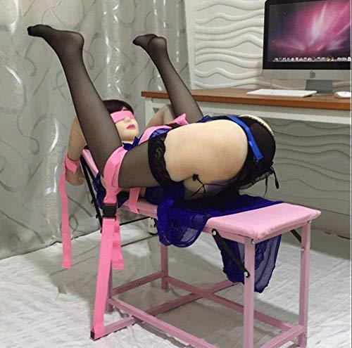 Spreizstange Extrem Bondage Fesselset, Restraints Stuhl System mit Verstellbare Hand Bein Fuß Ganzkörper Fesseln Gurte für Großartige Sex Stellungen, Erotik BDSM Slave Fetisch Sex-Möbel für Paare,Pink