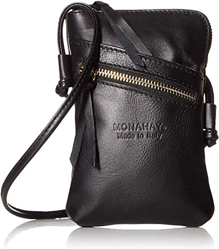 italienische Leder Handy Schultertasche,Handytasche, reisePass Umhängetasche, Kleine Umhängetasche für Damen Mini Sack Mädchen Frauen (Schwarz) - Travel Wallet Clutch