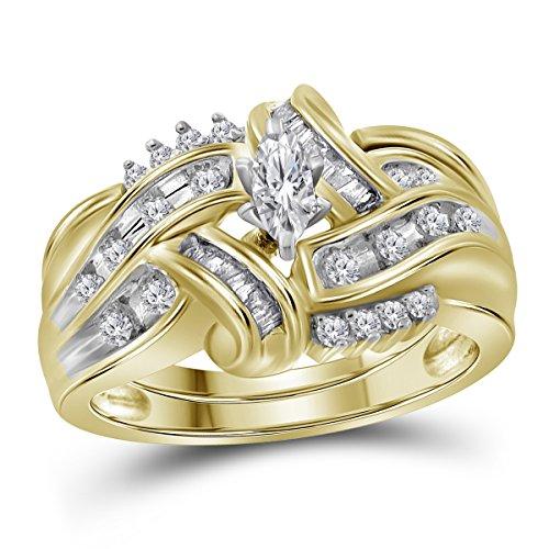 Diamond2Deal Herren Unisex Damen - 10 K Gelbgold (10 Karat) Marquiseschliff Leicht Getöntes Weiß/Crystal (J) Diamant