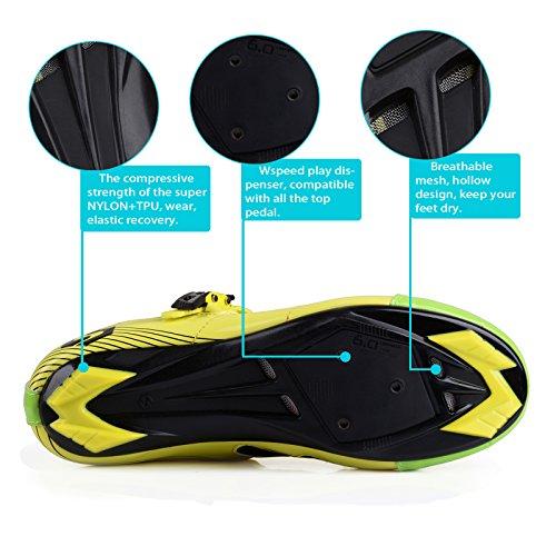 Unisexe respirant chaussures de vélo professionnels pour route et VTT SD-003 Jaune / Vert pour le Route