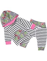 Chicolife Bébé fille Ensemble de pantalons à capuche floral doux 2pcs Avec des pantalons rayés Sweatshirt Outfit Clothes Style rose
