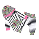 Chicolife Newborn baby girl cute floral hoodies pants set size information: 70(0-6 months) , hoodies length 11.8in, bust 18.9in, pants length 13.0in; 80(6-12 months) , hoodies length 12.6in, bust 19.7in, pants length 13.8in; 90(12-18 months) ...