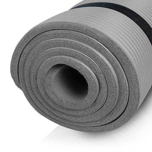 diMio Yogamatte Gymnastikmatte rutschfest mit Tragegurt, phlatatfrei + SGS-geprüft, 185x60x1.5cm Grau