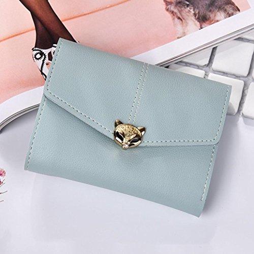 Portafoglio Donna, Tpulling Borsa della borsa della signora della borsa della frizione del raccoglitore del cuoio delle donne di modo (Black) Light Blue