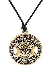 dc5e60077a4 Lemegeton Albero della Vita Pagan Triple Moon Goddess pentacolo Gloden  Regolabile Luna Collana Gioielli per Le