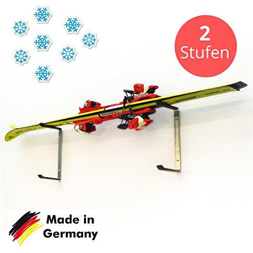 Skihalter   Ski Wandhalterung Basic   2 Ebenen   Verzinkte Skihalterung zur Skiaufbewahrung   Richtige Lagerung an der Wand   Ordnungssystem für Garage/ Keller   Ski-Zubehör   Inkl. Montagematerial