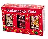 Weihnachts - Geschenkbox mit drei Sorten Senf (Weihnachtssenf, Walnuss Senf, Honig-Dill Senfsoße)