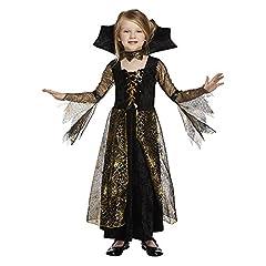 Idea Regalo - Salveo Girls Spiderella vampiro ragno costume da strega di Halloween vestito per 4 – 12 anni (10-12 anni)