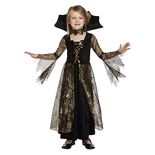 Spinnenkönigin Spinderella Vampirin Kostüm Hexe Mädchen Halloween Spiderella Kostüm Kleid (7-9 Jahre) , Gr.-Medium