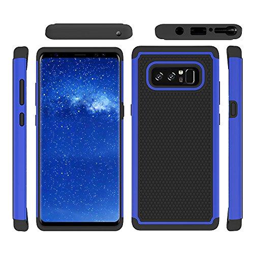 Coque Galaxy Note 8, Uzer (pendantes [absorption des chocs] Protection hybride double couche robuste en caoutchouc dur hybride/doux Impact Armour Defender Coque de protection? pour Samsung Galaxy Note 8(2017) bleu