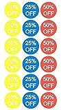 10% 25% 50% di sconto Prezzo di vendita Etichette adesive Percentoffiti Adesivi per la vendita al dettaglio Promozione sconti Promozioni Circle Pricemarker 1500 pezzi (3/4 pollici)