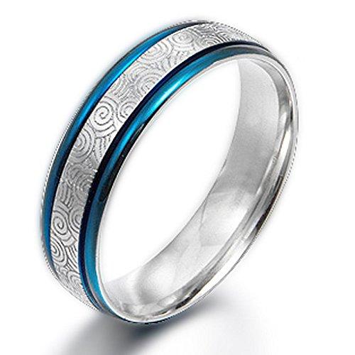 Gemini Men's & Blue Two Tone Ring Titan silber Valentine'Aufschrift, Geschenk für Männer, Damen, Paare, Unisex, Breite: 6 mm