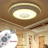 SZYSD 36W LED Deckenleuchte Kristall Wohnzimmer Flurleuchte Rund Lampe Dimmbare+Fernbedienung (36W)