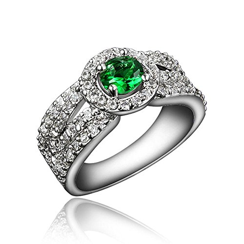 """Price comparison product image 925 Sterling Silver """"Love Tree"""" Green Cubic Zirconia CZ Wedding Band Solitaire Ring Set For Ladies Girls Size UK O (7)"""