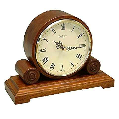 Round Double Scroll Walnut Wooden Mantel Table Desk Clock Roman Numerals 25x19cm