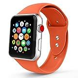 Iyou für Apple Watch Armband 38mm/42mm, Weiches Silikon Ersatzarmband Classic Sportarmband für iWatch Apple Watch Series 3/2/1, Edition, Nike + (38MM M/L, Aprikose)
