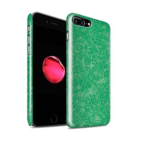STUFF4 Glanz Snap-On Hülle / Case für Apple iPhone 8 Plus / Blau Muster / Blatt-Strudel-Muster Kollektion Grün