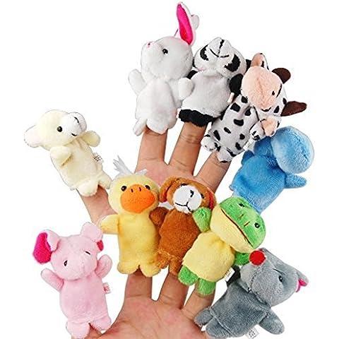 EchoAcc® 10pcs Marioneta del Dedo del Juguete de la Muñeca Diferentes Apoyos de Terciopelo Suave Animal de la