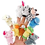 Itian 10pcs Different Cartoon Animal Finger Burattini in Morbido Velluto Dolls Toys Props - Itian - amazon.it