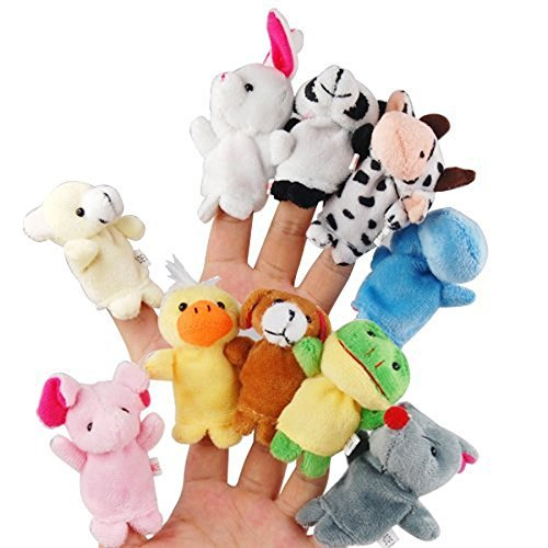 Itian 10pcs Different Cartoon Animal Finger Burattini in Morbido Velluto Dolls Toys Props