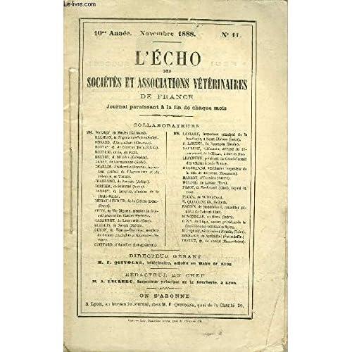 L'ECHO DES SOCIETES ET ASSOCIATIONS VETERINAIRES Novembre 1888