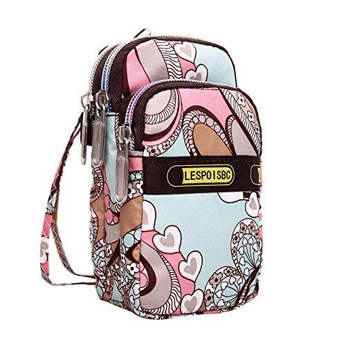 Damen Leopard Handgelenk Handtaschen Schlüsseltasche Brieftasche Clutch Bag Kosmetiktasche Reißverschluss Sport Umhängetasche Mini Geldbörse Klein Tasche Wasserdicht Citytasche Crossbody Pink Camouflage Messenger Bag