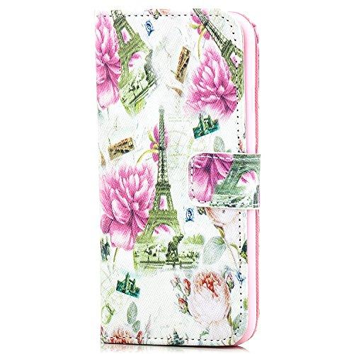 Saxonia Tasche iPhone 6 / 6S Hülle Flip Case Schutzhülle Handytasche mit Kartenfach Motiv Ornament Blau Paris Eiffelturm