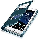 kwmobile Flip Case Hülle für Sony Xperia Z3 Compact mit Sichtfenster - Aufklappbare Kunstleder Schutzhülle im Flip Cover Style in Türkis